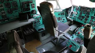 Inside old aircraft cabin. Old aircraft instruments panel, interior of old airplane since the Soviet Union