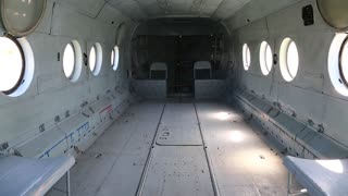 Interior Of Helicopter Inside The Empty Old Without Passenger Seats Stock Video Footage