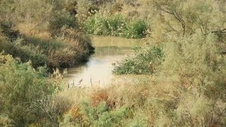 Jordan River in Al-Maghtas - historical place of baptism of Jesus Christ in Jordan, is world heritage site on east bank of Jordan river, officially known as Baptism Site Bethany Beyond the Jordan