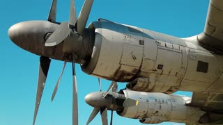 Motors of old TU-142 VPMK Bear-F Mod 4 Long-Range ASW propeller-driven aircraft in aviation museum in Kiev, Ukraine, located near Zhulyany airport.Soviet aviation industry civil and military airplanes
