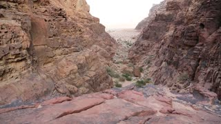 Mountains in Wadi Rum desert in Hashemite Kingdom of Jordan. Amazing scenery of Wadi Rum desert in Jordan, also known as The Valley of Moon