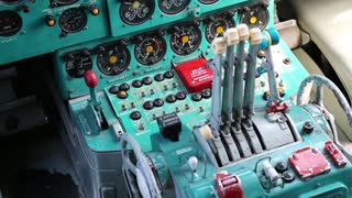 Old aircraft instruments panel, interior of old airplane since the Soviet Union. Old aircraft cabin