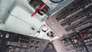 Old helicopter instruments panel, interior of old helicopter since the Soviet Union. Old helicopter cabin