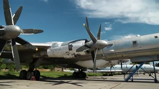 Old TU-142 VPMK Bear-F Mod 4 Long-Range ASW propeller-driven aircraft in national aviation museum in Kiev, Ukraine, located near Zhulyany airport. Soviet aviation industry civil and military airplanes