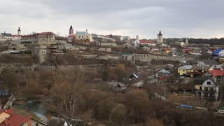 Panorama of Kamianets-Podilskyi city, located in historic region of Podolia in western Ukraine