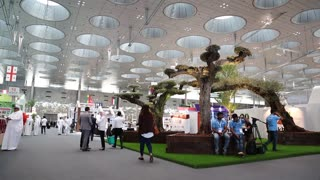 People at Qatar International Agricultural Exhibition in Doha, Qatar