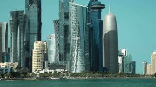 QATAR, DOHA, MARCH 20, 2018: UDH 4K time lapse of financial centre in Doha - capital and most populous city in Qatar, West Bay, Persian Gulf, Arabian Peninsula, Middle East