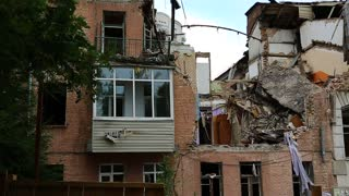 Ruins of building after gas explosion inside living premise, Kiev, Ukraine. Destruction of the house from gas explosion, building to be demolished