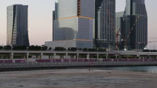 Skyscrapers on Al reem island in Abu Dhabi - capital and second most populous city in United Arab Emirates, after Dubai, and also capital of Abu Dhabi emirate, largest of seven emirates in UAE