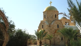 St John The Baptist Church Jordan River. The newly built Greek Orthodox Church of John Baptist, Greek Orthodox Patriarchate, historical place of baptism of Jesus Christ in Hashemite Kingdom of Jordan