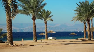 Tropical resort in Tala Bay, Hashemite Kingdom of Jordan. Red sea, gulf of Aqaba. View on Israel and Egypt. Palms on the picturesque beach