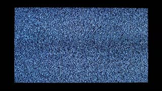 TV channel noise and black silhouette of man in television screen