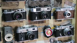 UKRAINE, IVANO-FRANKIVSK, FEBRUARY 23, 2017: Old film photo cameras on the wall in photographic studio