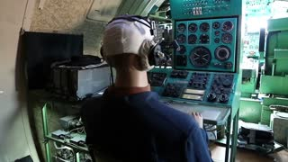 UKRAINE, KIEV, AUGUST 10, 2016: Mannequins inside educational training aircraft Tu-134UBL Combat Trainer. Interior of Soviet Union old airplane