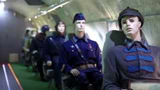 UKRAINE, KIEV, AUGUST 10, 2016: Mannequins of military men inside educational training aircraft Tu-134UBL Combat Trainer. Interior of Soviet Union old airplane
