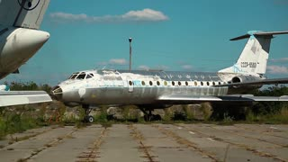 UKRAINE, KIEV, AUGUST 10, 2016: Old soviet passenger aircraft Tupolev Tu-134 in aviation museum in Kiev, located near Zhulyany airport. Soviet aviation industry civil and military airplanes