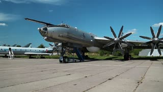 UKRAINE, KIEV, AUGUST 10, 2016: TU-142 VPMK Bear-F Mod 4 Long-Range ASW propeller-driven aircraft, aviation museum in Kiev, near Zhulyany airport. Soviet aviation industry civil and military airplanes