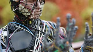 UKRAINE, KIEV, AUGUST 17, 2016: Sculpture of human, made of electric wires and electronic devices