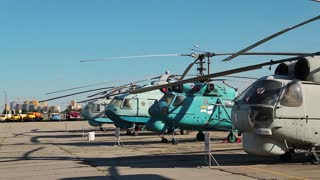 UKRAINE, KIEV, AUGUST 23, 2016: Old helicopters in aviation museum in Kiev, located near Zhulyany airport. Soviet aviation industry civil and military airplanes