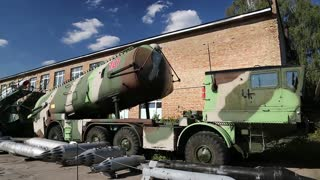 UKRAINE, KIEV, AUGUST 23, 2016: Old military equipments in national aviation museum in Kiev, Ukraine, defense technology. In museum is mainly presented Soviet aviation industry
