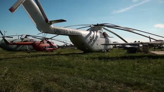 UKRAINE, KIEV, AUGUST 23, 2016: White old Soviet heavy transport helicopter Mil Mi-26 for United Nations. NATO reporting name: Halo, product code: Izdeliye 90. Aviation museum in Kiev, Ukraine