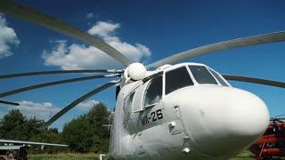 UKRAINE, KIEV, AUGUST 23, 2016: White old Soviet heavy transport helicopter Mil Mi-26 for United Nations. NATO reporting name: Halo, product code: Izdeliye 90. Aviation museum in Kiev, Ukraine