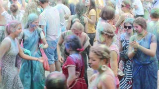 UKRAINE, KIEV, JULY 28, 2018: People celebrate Holi - Hindu traditional festival, also known as feast of colours or festival of love
