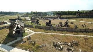 UKRAINE, KIEV REGION, KOPACHIV VILLAGE, AUGUST 14, 2016: Kyivan Rus park in Kopachiv village, historical reconstruction of ancient Kiev, view from wooden fortress