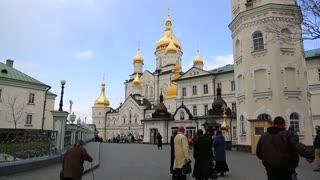 UKRAINE, POCHAYIV, MARCH 25, 2017: People in Holy Dormition Pochayiv Lavra in Pochayiv city, Ternopil Oblast in western Ukraine. Largest orthodox church complex and monastery in western Ukraine