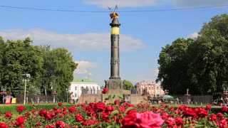 UKRAINE, POLTAVA, JUNE 20, 2017: People near Monument of Glory, is a monument in honor of the 100th anniversary of victory of the Russian army over Swedish troops in Battle of Poltava on June 27, 1709