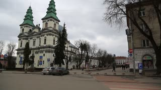 UKRAINE, TERNOPIL, MARCH 24, 2017: Dominican church, cathedral of Immaculate conception of Holy Mother of God in Ternopil - city in western Ukraine, historical regions of Galicia and Podolia