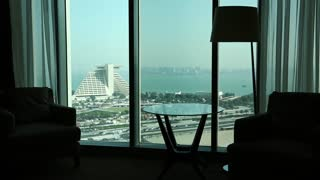 View from hotel window in Doha - capital and most populous city in Qatar, Persian Gulf, Arabian Peninsula, Middle East