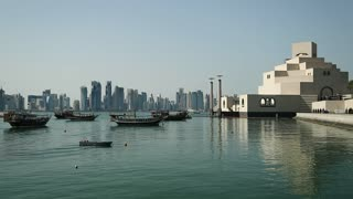 View on financial centre and museum of islamic art in Doha, Qatar
