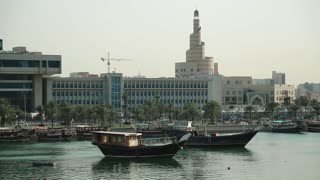 View on harbour and islamic cultural center Fanar in old town of Doha, Qatar, Persian Gulf, Arabian Peninsula. Doha - capital and most populous city in Qatar