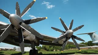 Wing of old TU-142 VPMK Bear-F Mod 4 Long-Range ASW propeller-driven aircraft in aviation museum in Kiev, Ukraine, located near Zhulyany airport. Soviet aviation industry civil and military airplanes