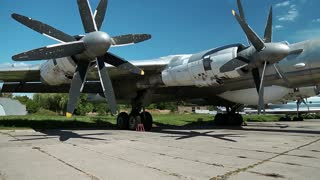 Wing of old TU-142 VPMK Bear-F Mod 4 Long-Range ASW propeller-driven aircraft in aviation museum in Kiev, Ukraine