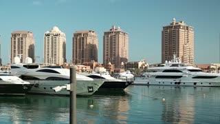Yachts in The Pearl-Qatar in Doha city, Qatar