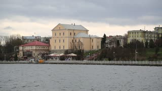 Yellow building of castle and lake in Ternopil city, western Ukraine. Castle was built in 16th century to protect the southern border of Kingdom of Poland and Polish-Lithuanian Commonwealth
