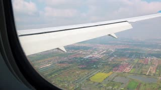 View from the airplane window on Bangkok, Thailand