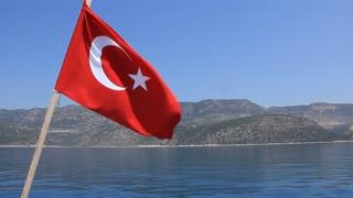 Voyage. Turkey, Kemer. Turkish national flag