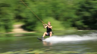Wakeboarding is a surface water sport which involves riding a wakeboard over the surface of a body of water