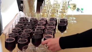 Wine sampling. Wine glasses