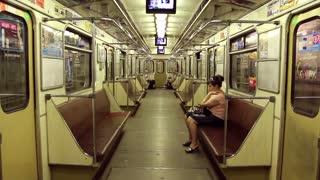Woman inside a transit vehicle