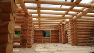 Wooden house. Bulding of new wooden house