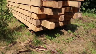 Wooden squared timbers for the building of a wooden house