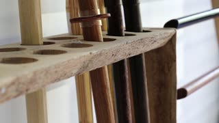 Wooden swords for trainings in martial arts school