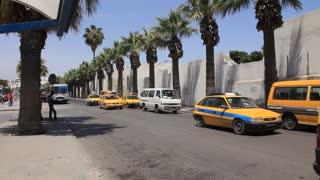 Yellow taxi on street in Sousse, Tunisia