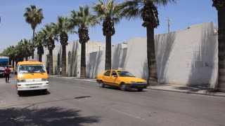 Yellow taxi on the street in Sousse, Tunisia