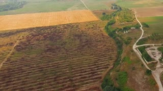 Aerial panoramic shot of agricultural fields and settlement with roads and greenery. at dull day. The shot was captured in Crimea