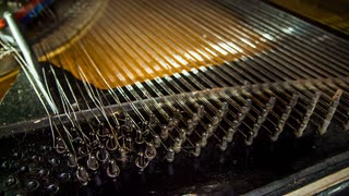 Close-up shot of process of old piano strings disassembly with pliers. Time lapse